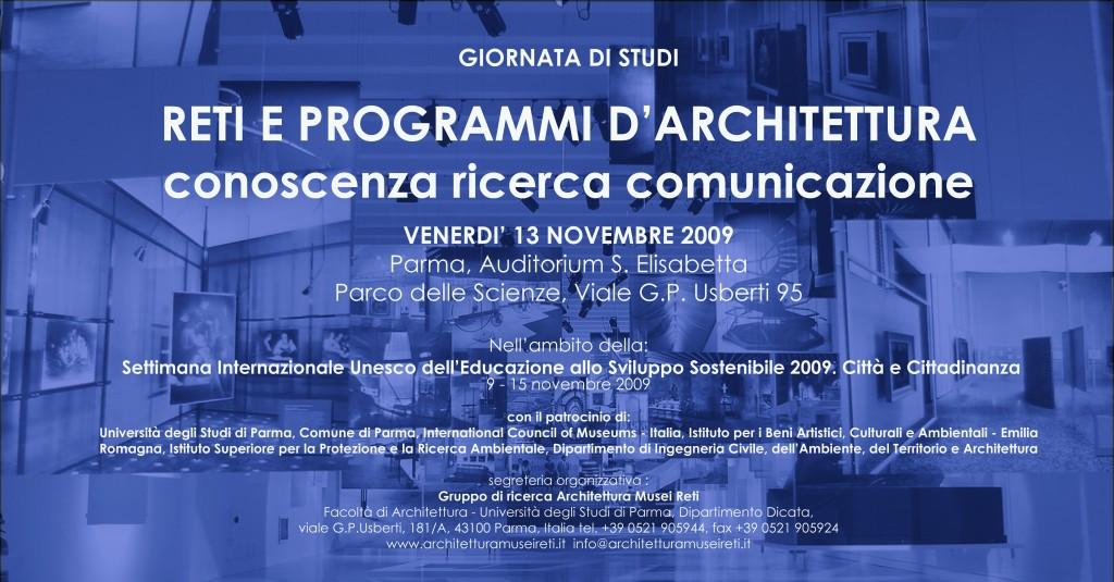 """Convegno """"Reti e programmi d'architettura"""" a Parma"""