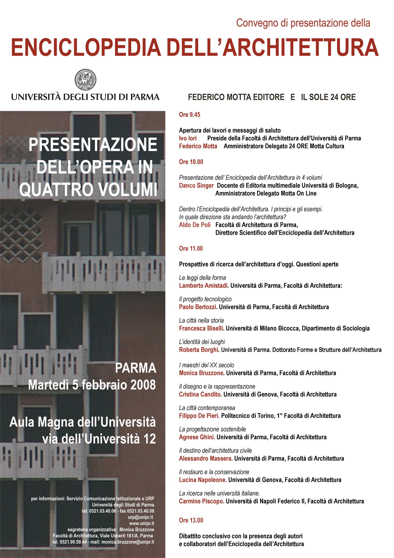 """Presentazione dell'opera in quattro volumi """"Enciclopedia dell'Architettura"""" a Parma."""