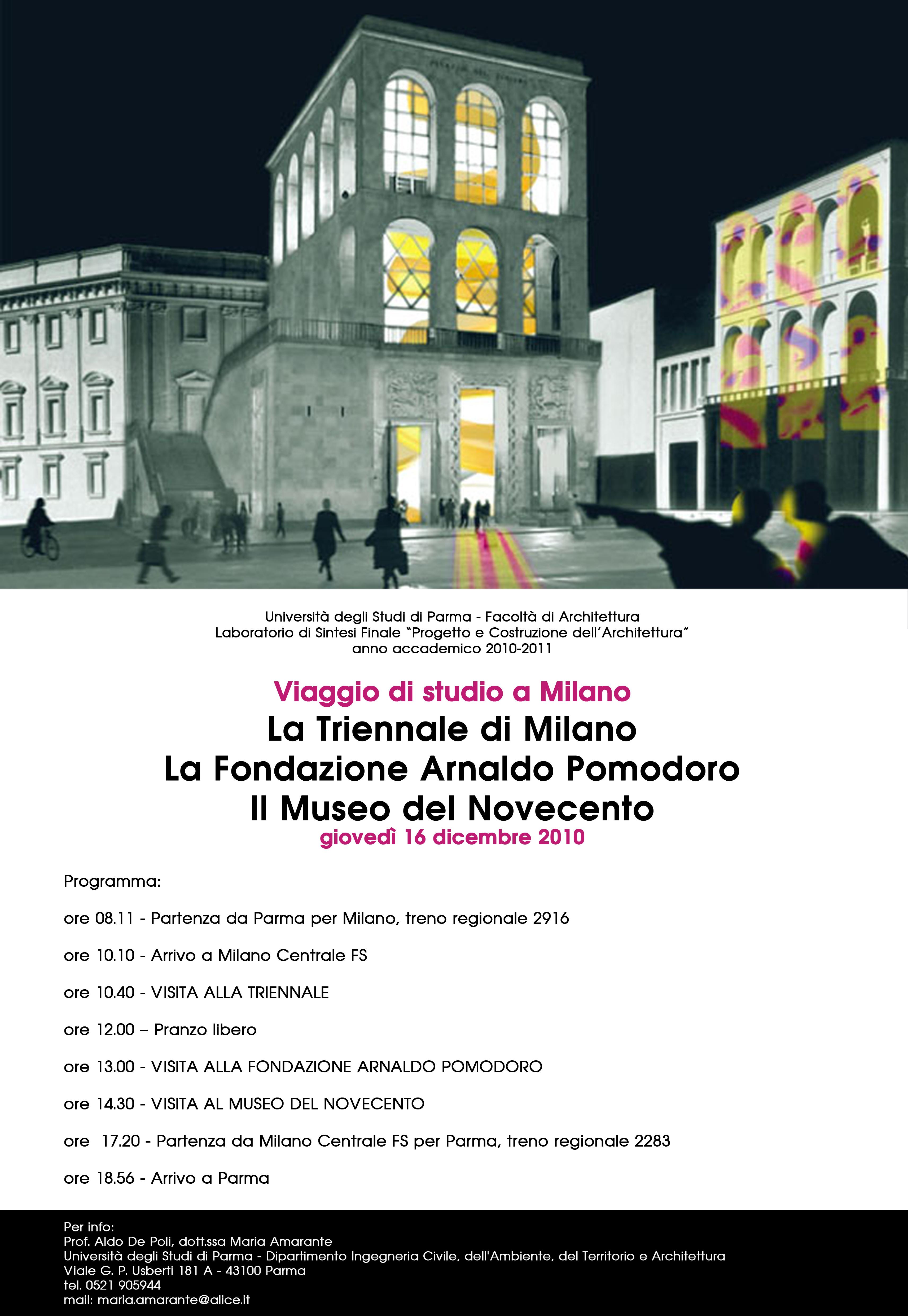 Viaggio di studio a Milano. La Triennale di Milano. La Fondazione Arnaldo Pomodoro. Il Museo del Novecento