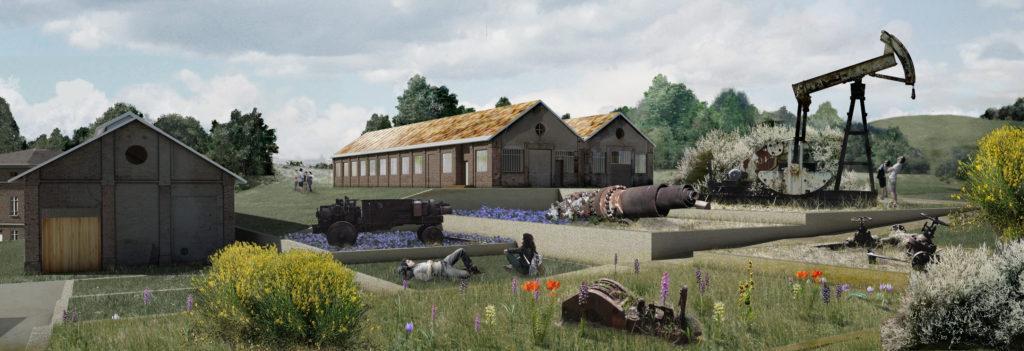 Mu.PE. Render di progetto delle Ex Officine e delle terrazze per l'esposizione all'aperto.